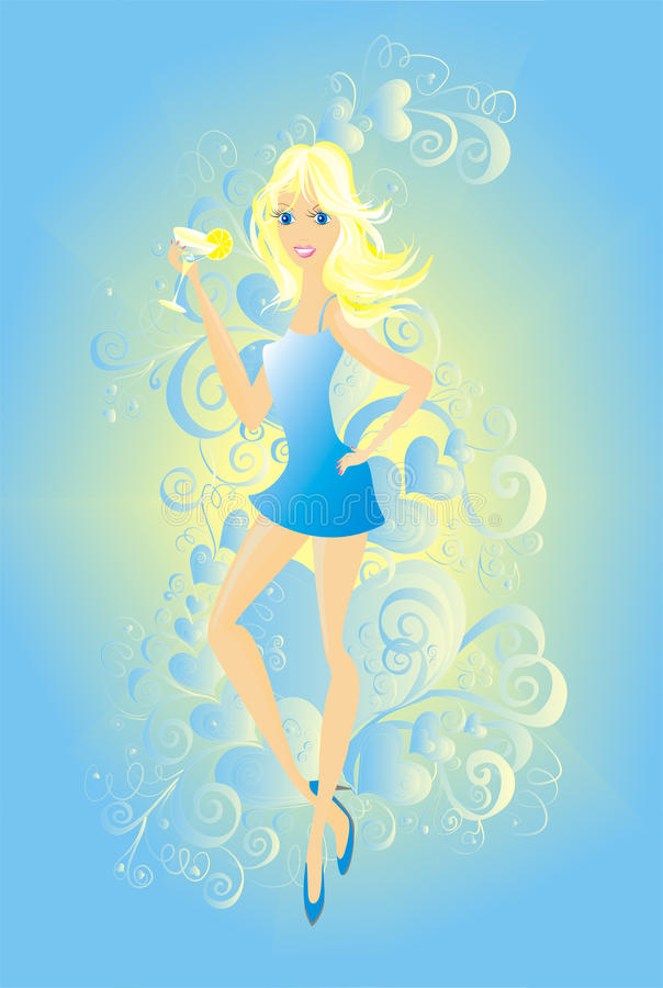 Download Blonde woman with cocktail stock illustration. Image of elements - 12468170