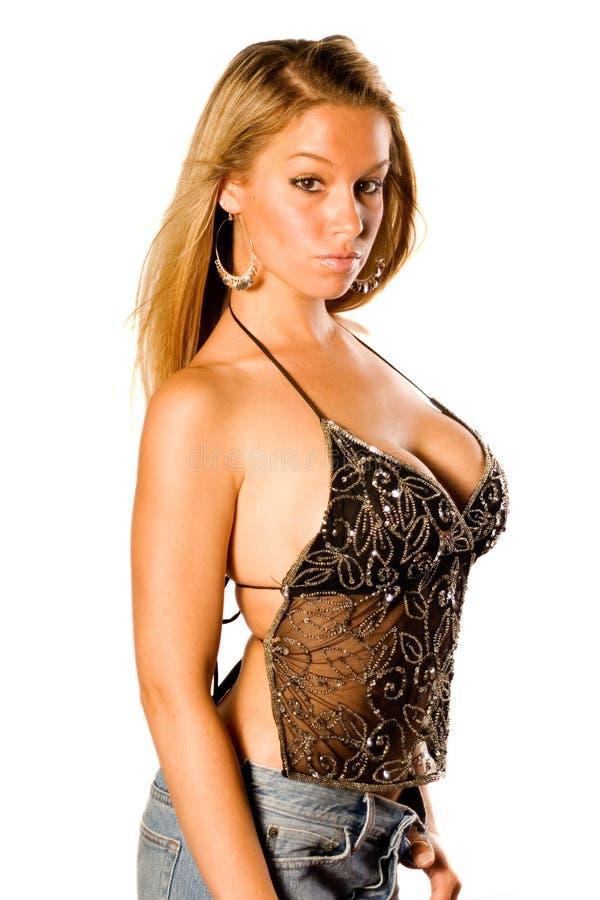 sexy blondynkę na czarną obraz stock