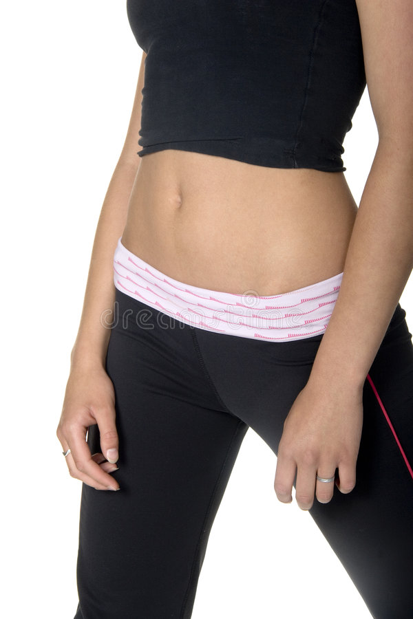 Body. Front angled close-up view of woman's abdominal area royalty free stock photo