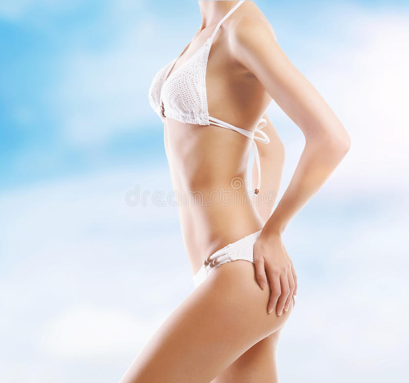 body of a young woman on a resort background stock images