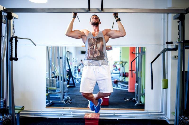 Sexy Bodybuildermodell, welches die Rückenübungen ausarbeitet lizenzfreies stockfoto