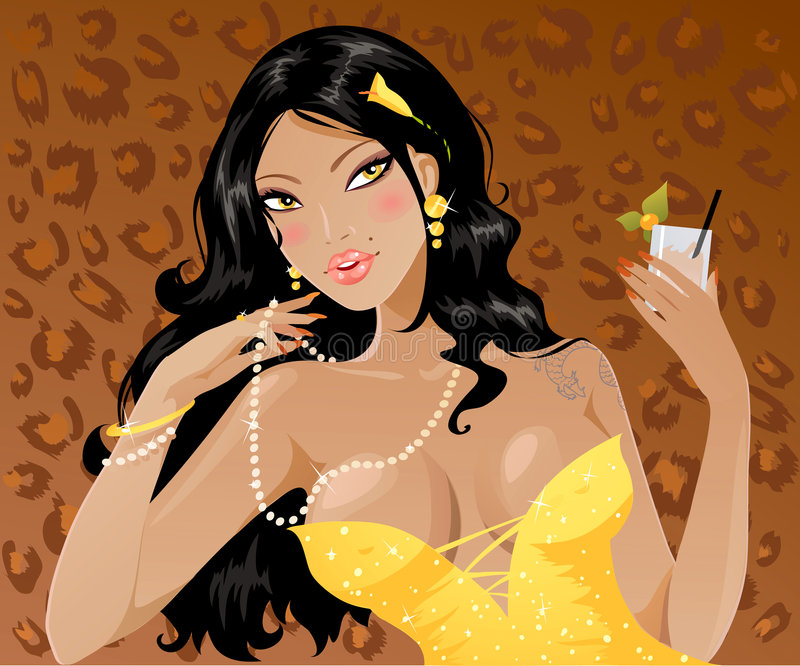 Brunette. Girl sitting with glass of cocktail royalty free illustration