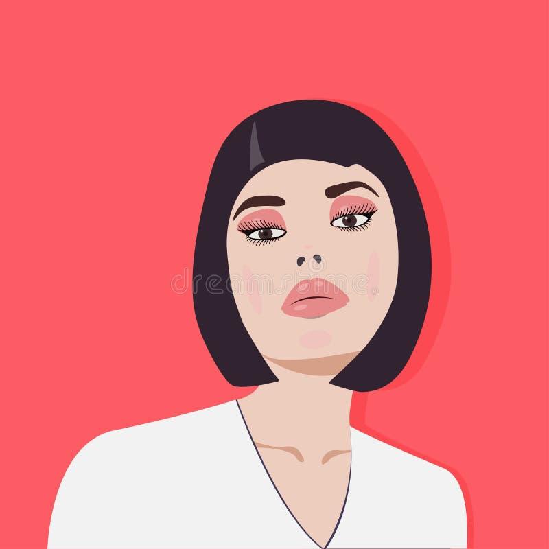 Sexy Brunette auf einem roten Hintergrund Entwerfer Evgeniy Kotelevskiy lizenzfreie abbildung