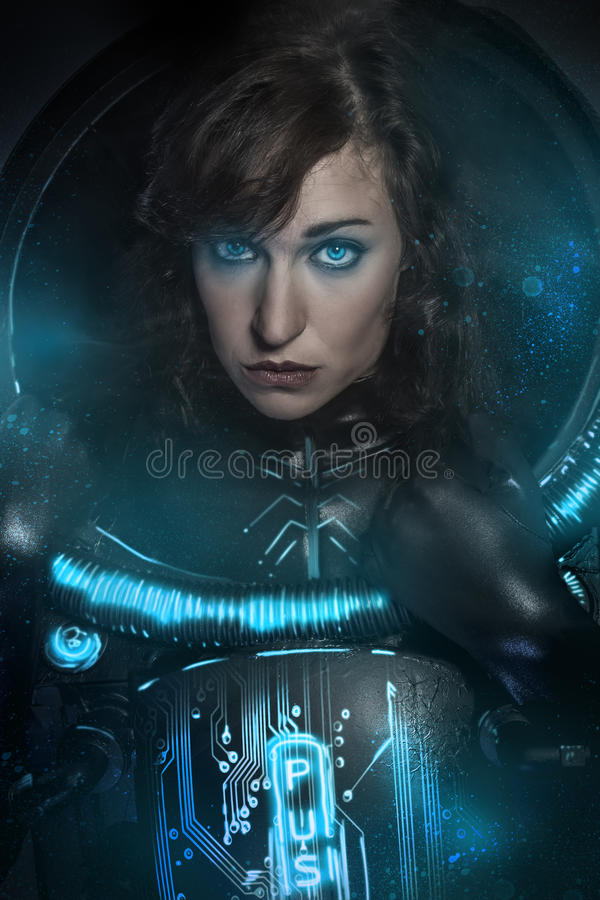brunette in black latex costume , science fiction scene, fa stock image