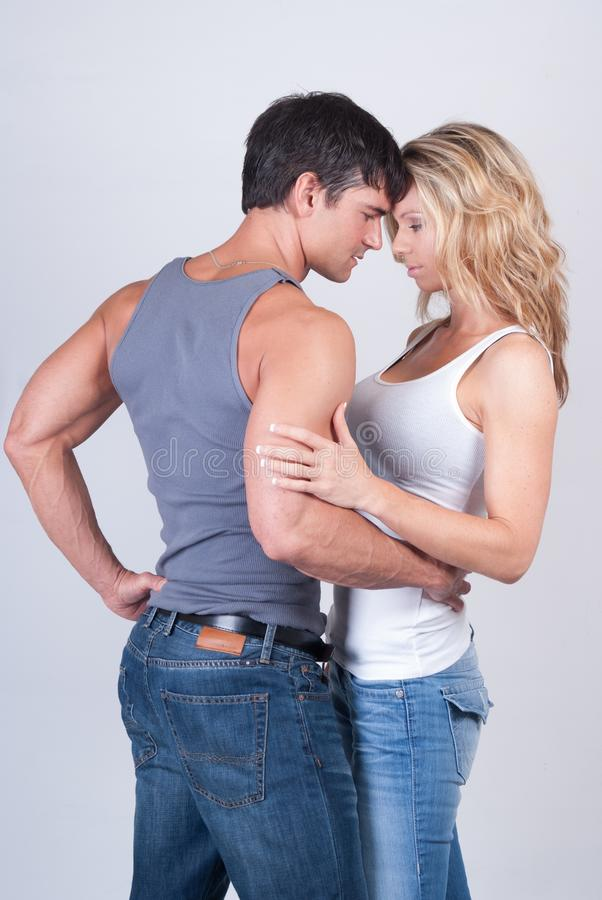 The couple poses for the camera. royalty free stock photos