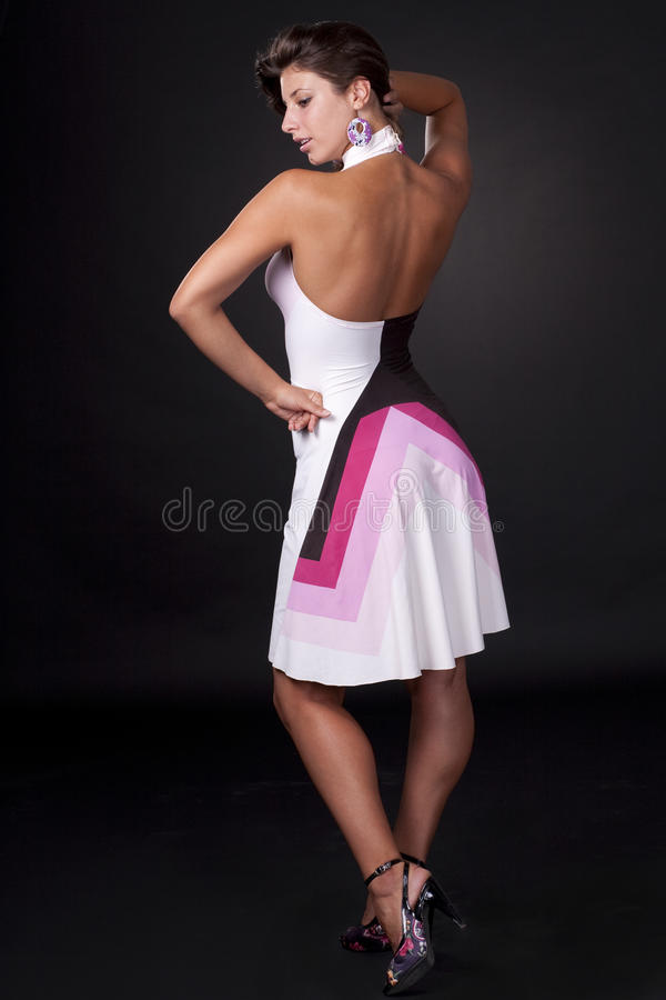 brunette with dress stock photos