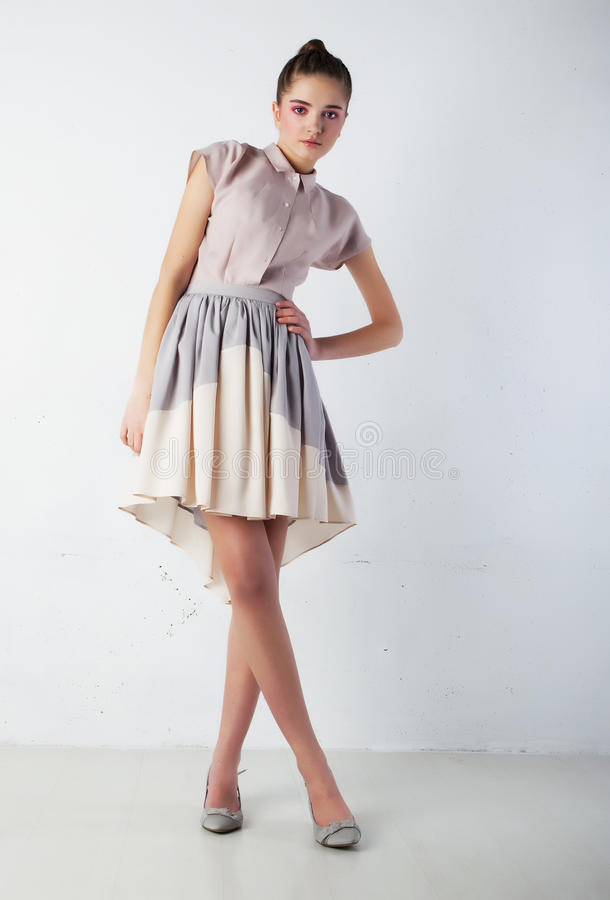Download Brunette Female In Fashion Clothes Posing Stock Image - Image: 23638849