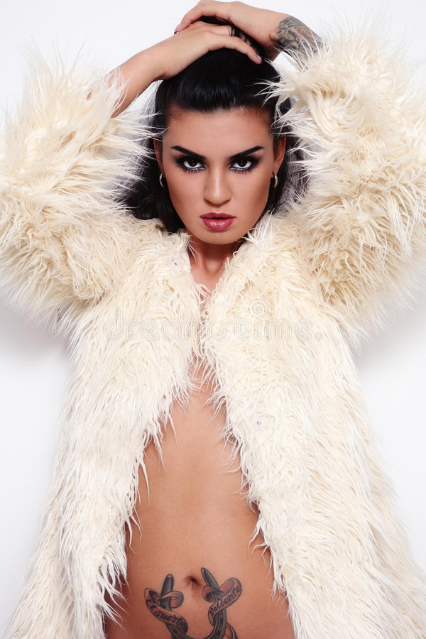brunette in fur royalty free stock photo