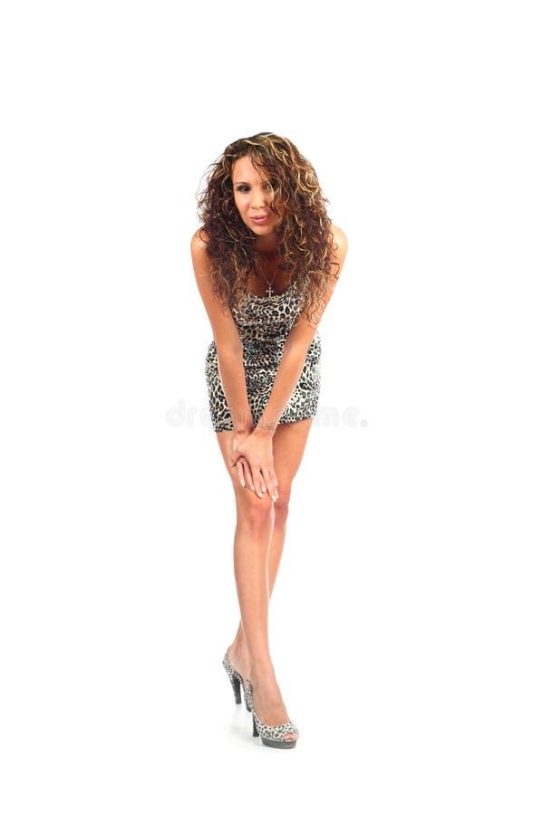 brunette in parti-coloured dress stock image
