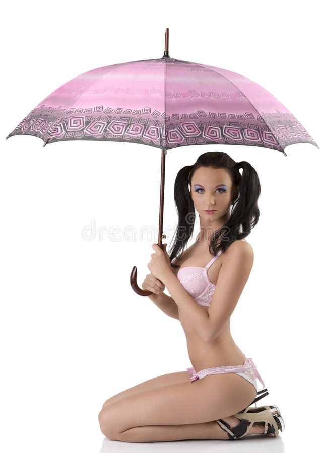 Download Brunette Sitting In Profile With Umbrella Stock Photo - Image of beauty, lady: 26481972
