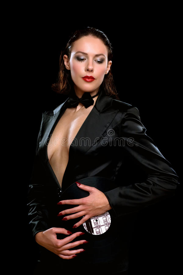 Brunette Wearing A Black Suit Royalty Free Stock Photo