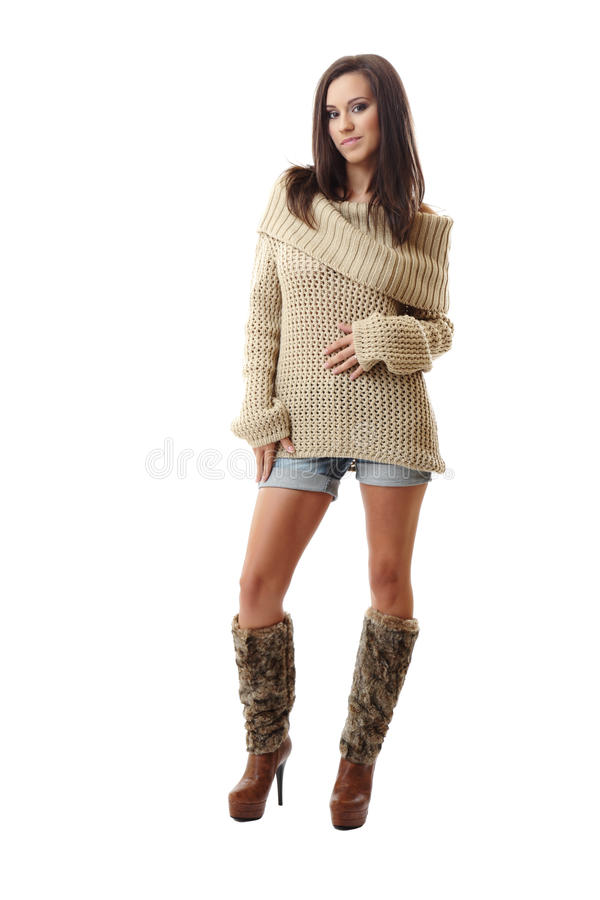 brunette woman posing on white background stock images
