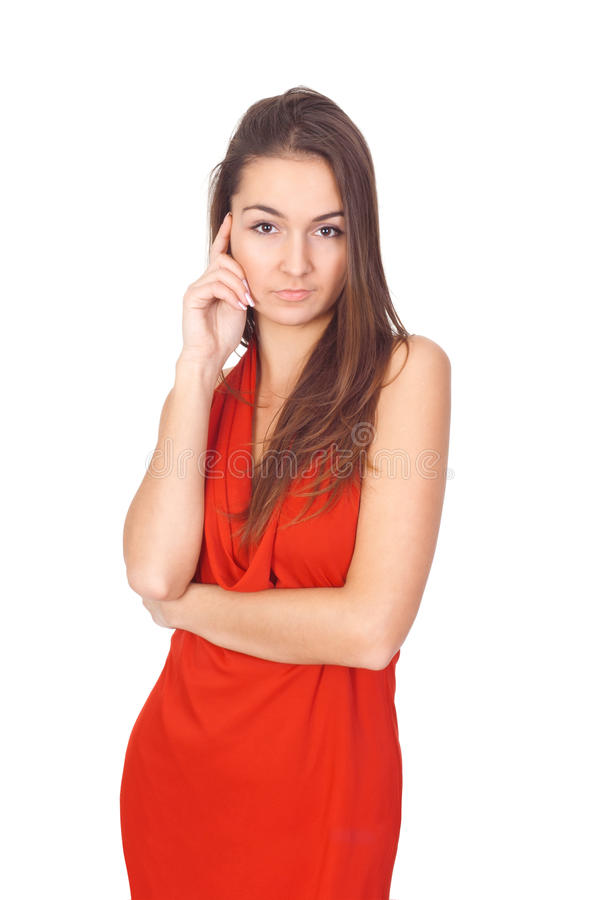 Download Brunette woman in a red stock photo. Image of feminine - 17809020