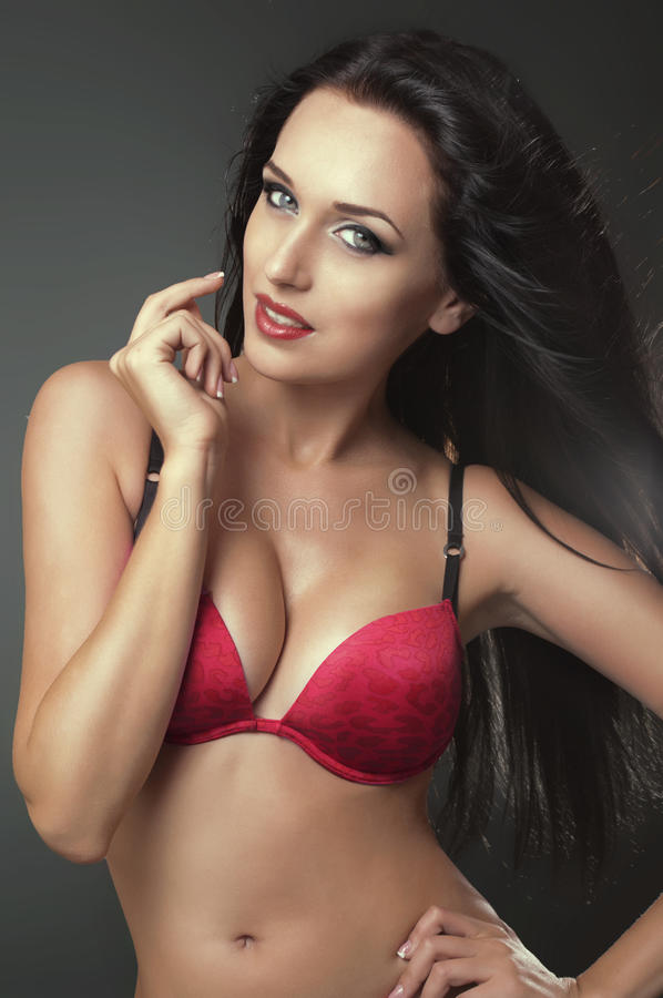 Download Brunette Woman In Red Bra Royalty Free Stock Images - Image: 21382299