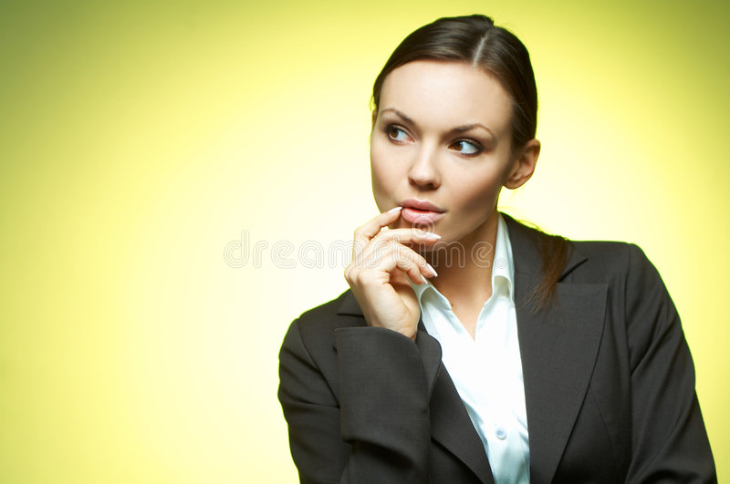 Business Woman. Beautiful and brunette business woman isolated on clear background stock photography