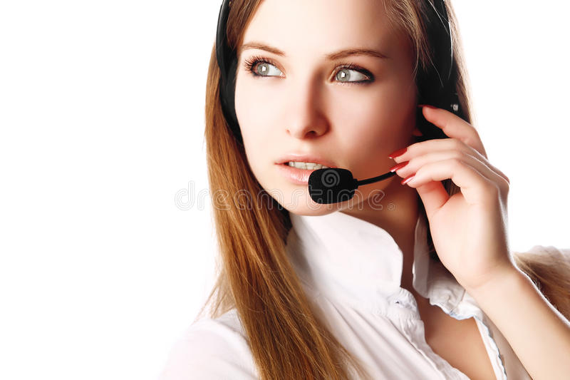 Download Business Woman With Headphones Stock Image - Image of cute, conversation: 25284849