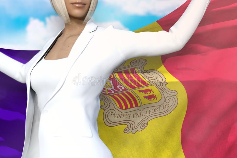 Sexy business woman holds Andorra flag in hands behind her back on the blue sky background - flag concept 3d illustration. Pretty business lady is holding stock illustration