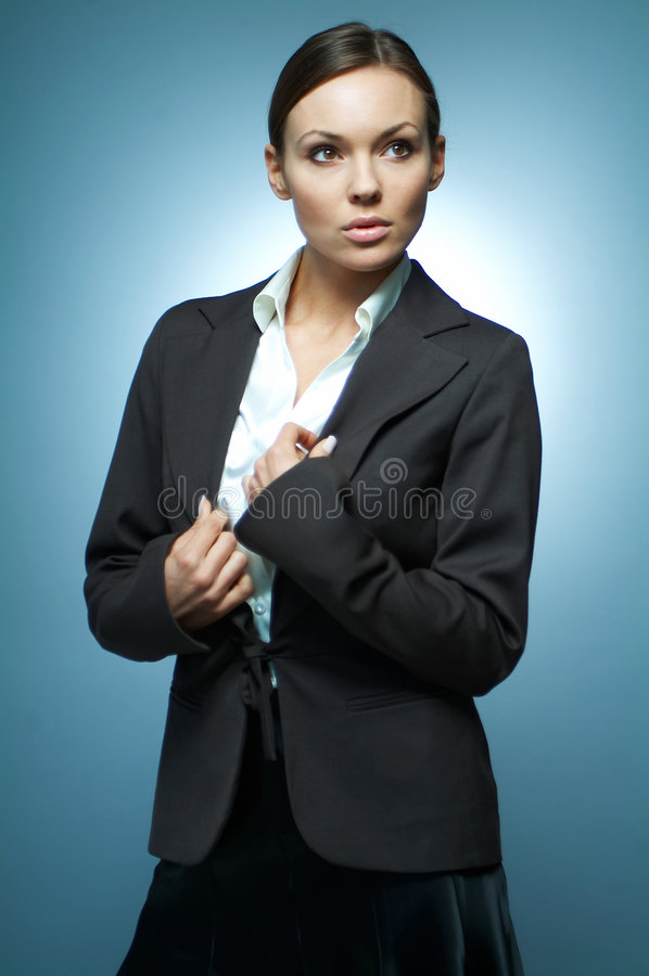 Business Woman MG. Beautiful and brunette business woman isolated on clear background stock images