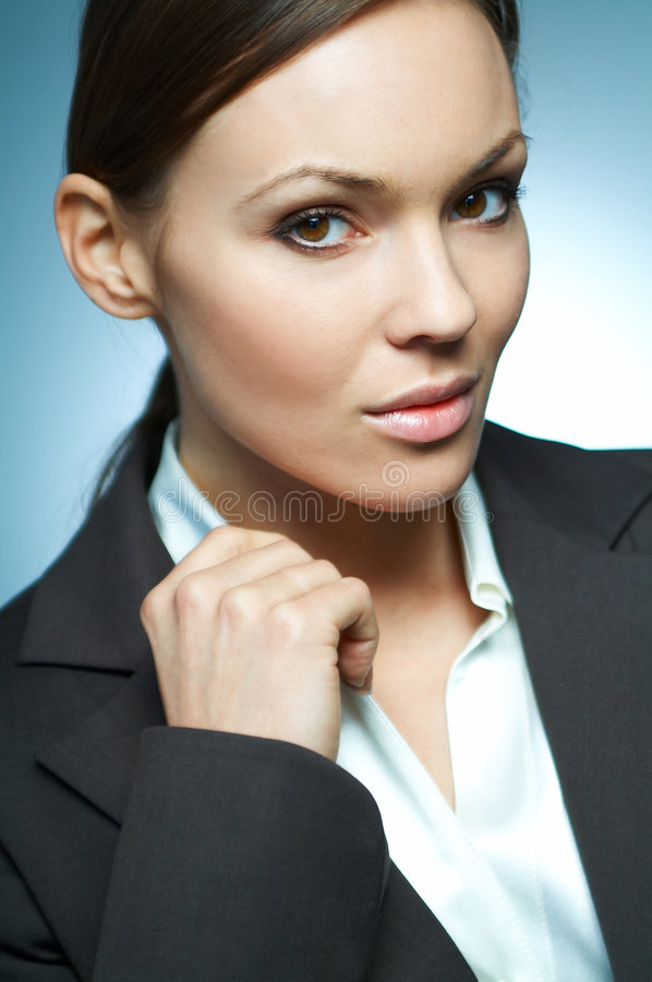 Business Woman MG. Beautiful and brunette business woman isolated on clear background royalty free stock image