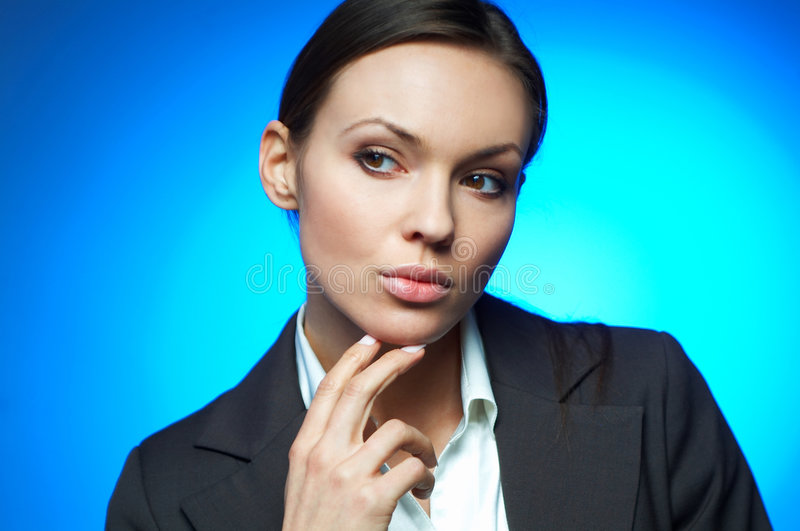 Business Woman MG. Beautiful and brunette business woman isolated on clear background royalty free stock images
