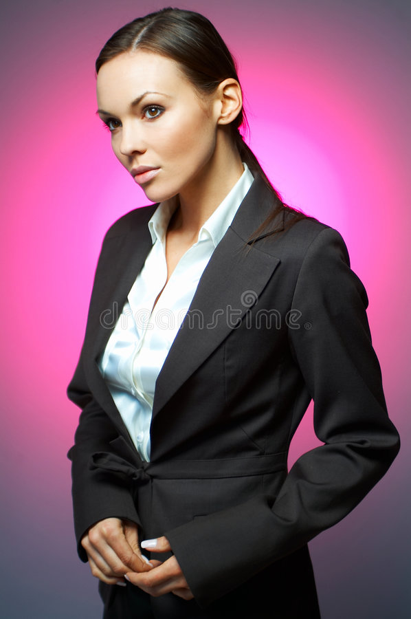 Business Woman MG. Beautiful and brunette business woman isolated on clear background royalty free stock photography