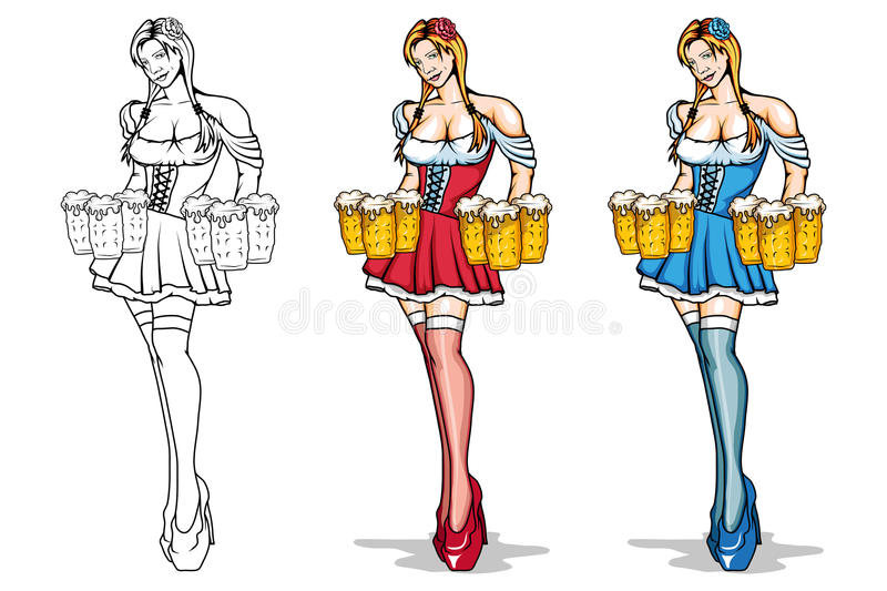 cartoon girl with a glasses of beer in her hands. vector illustration