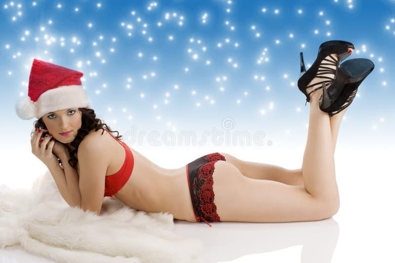 Sexy christmas girl laying