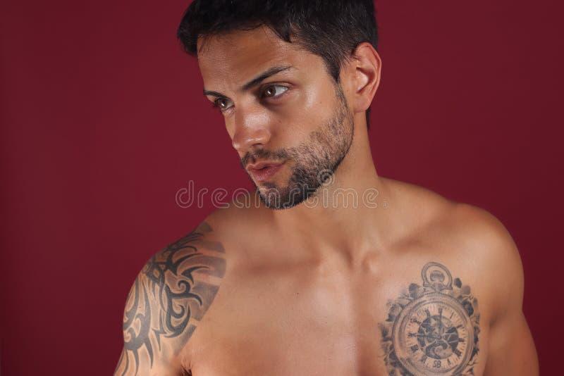 Sexy close-upportret van knap topless mannelijk model met mooie bruine ogen royalty-vrije stock afbeeldingen