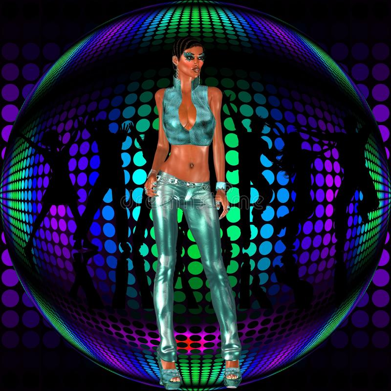 club girl stands before a retro disco dance ball stock illustration