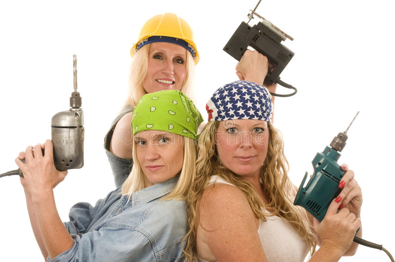 Contractor Construction Lady With Tools Stock Photos