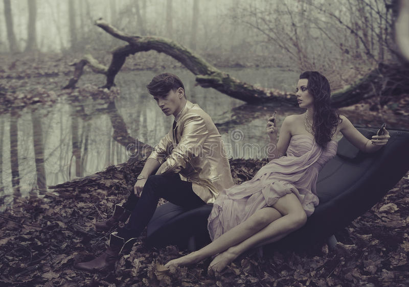 couple over nature background royalty free stock photography