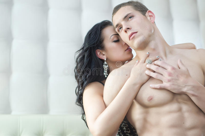 couple in sensual pose stock photos