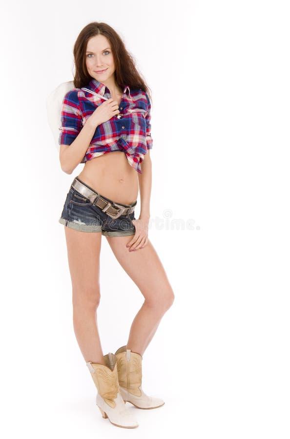 Cowgirl Cowboy Boots Shorts Plaid Shirt royalty free stock images