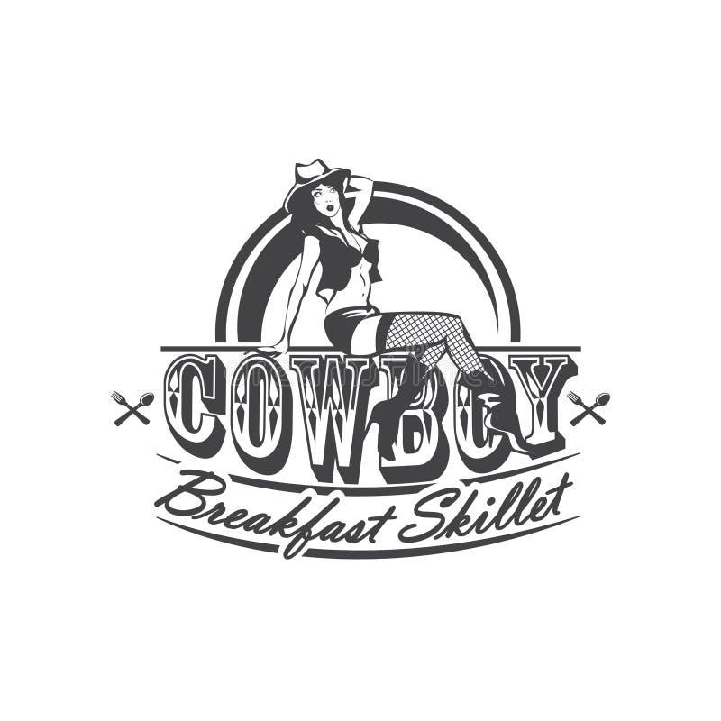 Sexy Cowgirl, das auf der Buchstaben Cowboy-Breakfast-Bratpfanne sitzt Amerikanische Küche Auch im corel abgehobenen Betrag stock abbildung