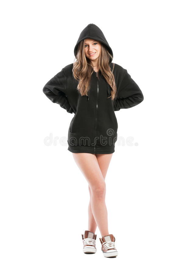Sexy, cute, kinky and adorable female wearing a hoodie royalty free stock photography