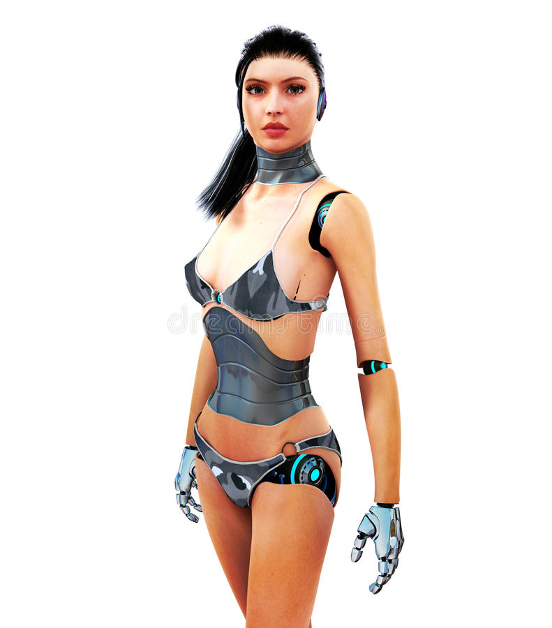 Cyborg. A beautiful Cyborg poses for the camera vector illustration