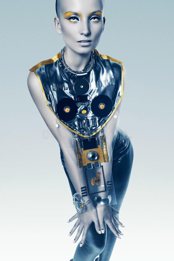 Sexy cyborgvrouw in kostuum royalty-vrije illustratie