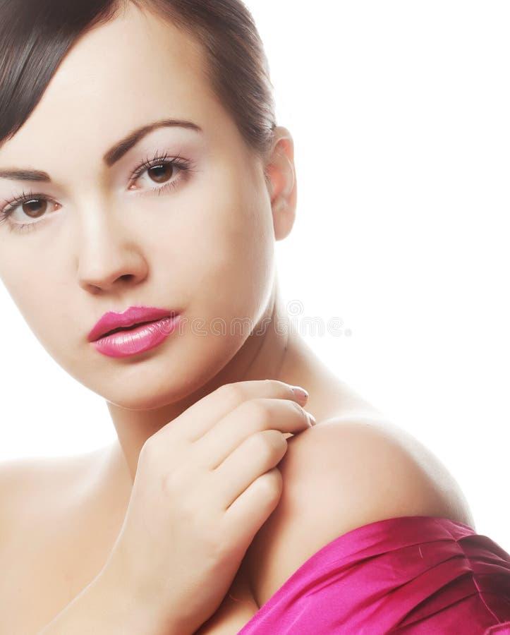 Sexy Dame mit den rosa Lippen stockfotos