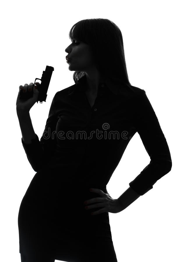 detective woman holding aiming gun silhouette royalty free stock image