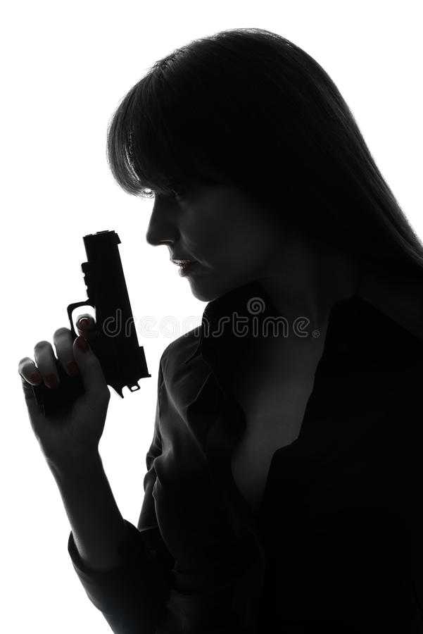 detective woman holding gun silhouette stock images