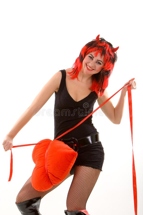 Download Devil woman and red heart stock image. Image of hair, evil - 7062215
