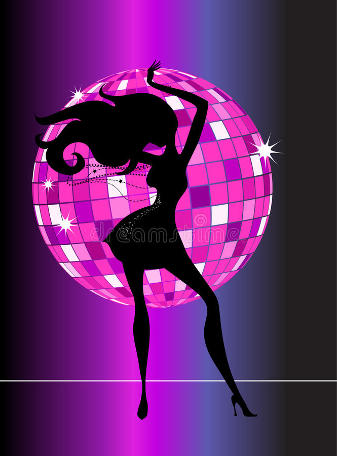 disco party girl - 2 stock illustration