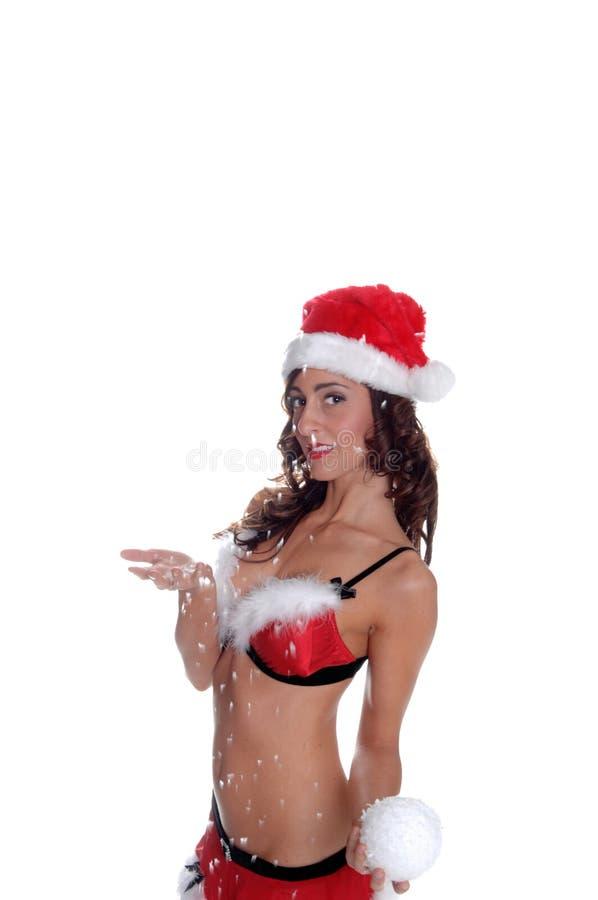 Sexy Elf in de Sneeuw royalty-vrije stock foto
