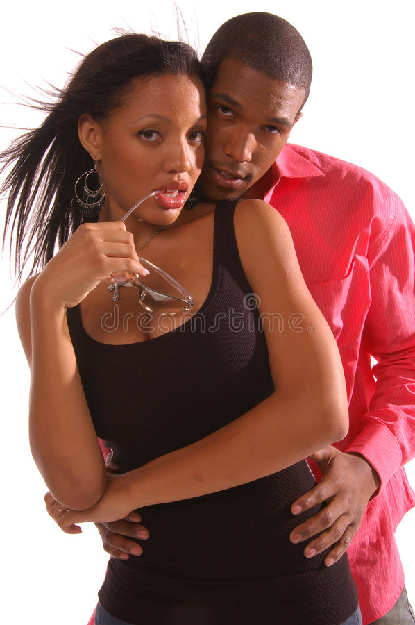Embrace. African American couple standing in an intimate and embrace
