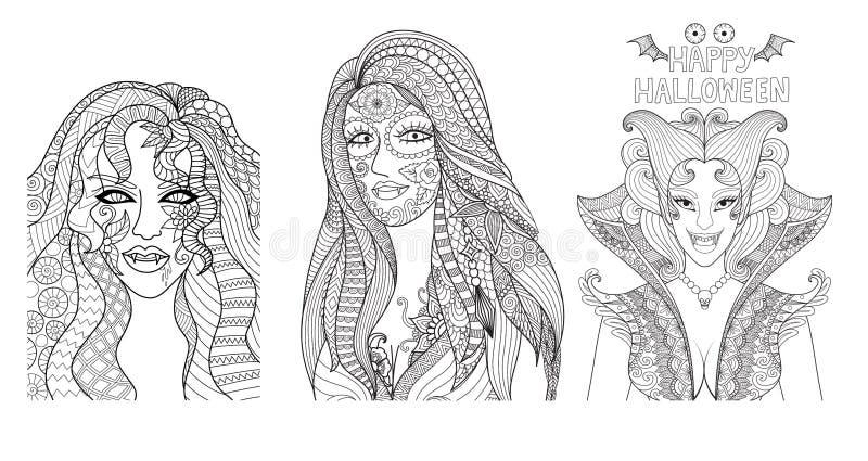 Sexy enge Halloween-meisjes voor ontwerpelement en kleurende boekpagina Hand getrokken illustratie zentangle-geïnspireerde stijl  royalty-vrije illustratie