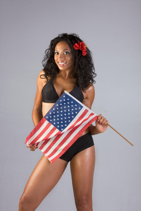 Ethnic Woman With American National Flag Royalty Free Stock Images