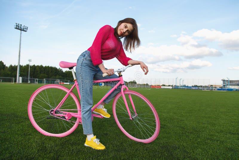 Fashion girl on bike stock image. Image of spring, female ...