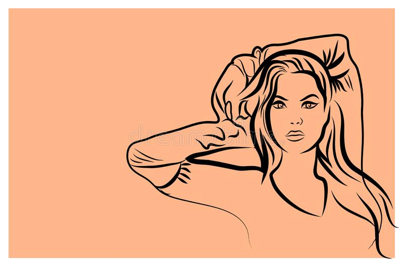 Sexy fashion girl in sketch style on a retro background. Place for your text. Vector stock illustration
