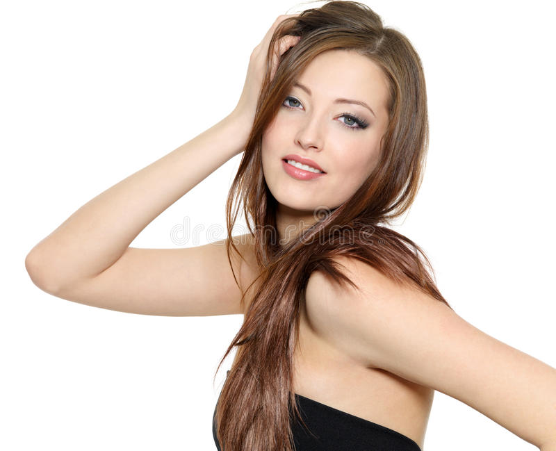 fashion model with long hair stock image