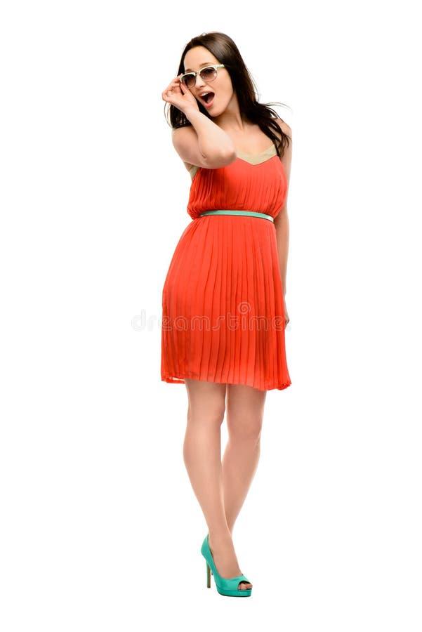 FASHION MODEL POSING isolated on white background. Full length fashion model posing isolated on white background royalty free stock image
